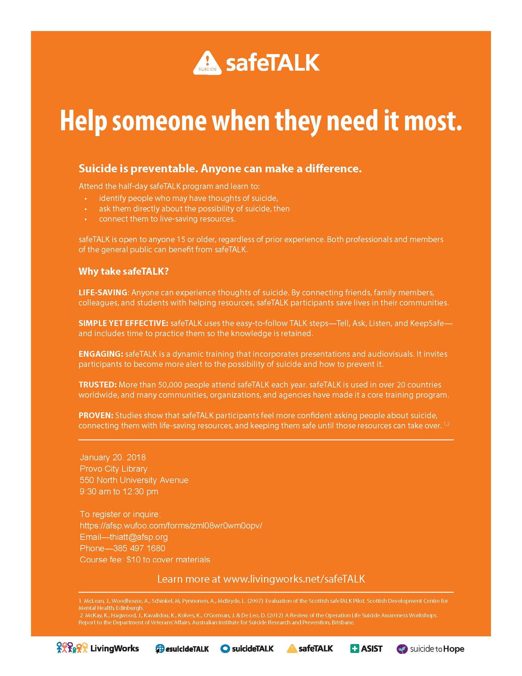 safeTALK Informational Flyer