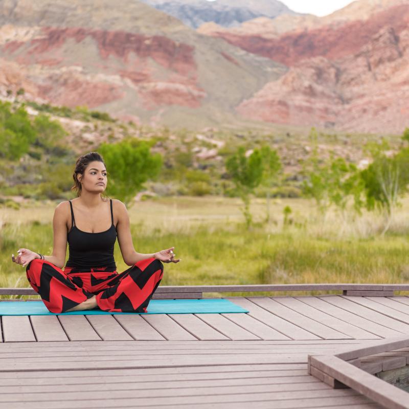 Lady doing yoga pose