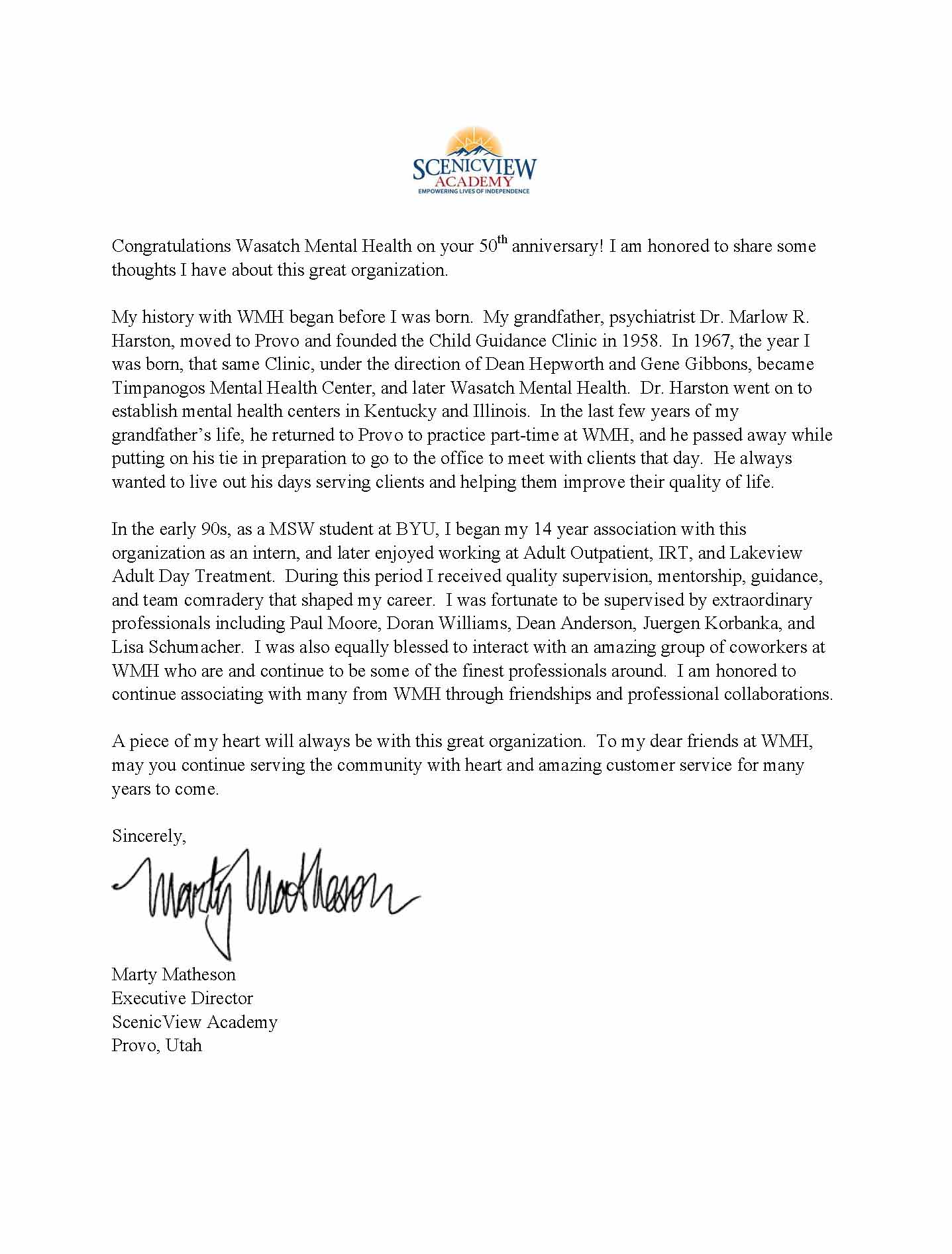 Letter from Marty Matheson