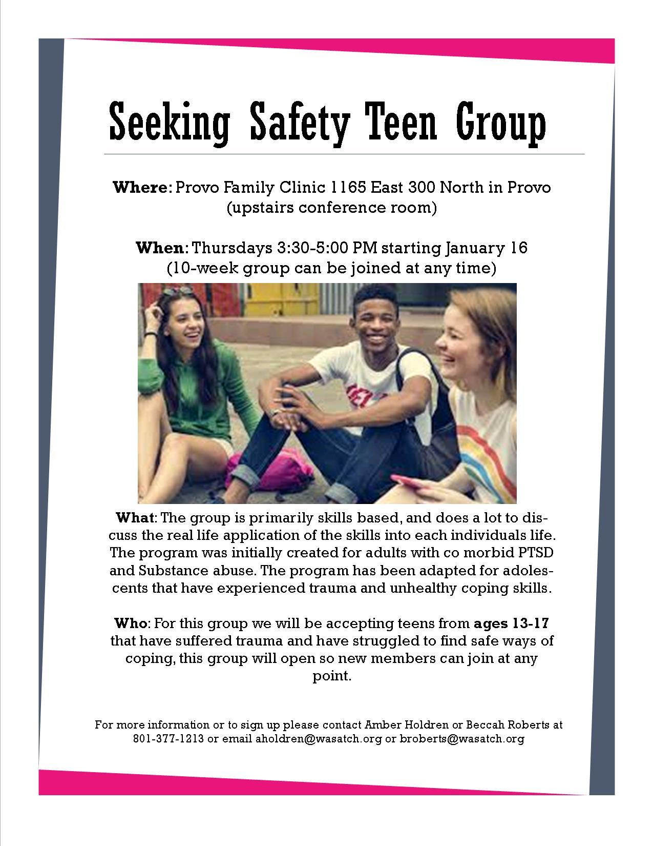 Seeking Safety Teen Group flyer