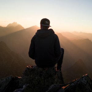 Male silhouette on mountain